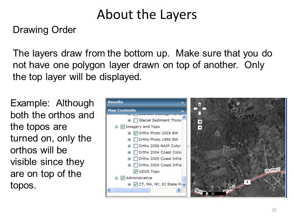 About the Layers Drawing Order The layers draw from the bottom up.