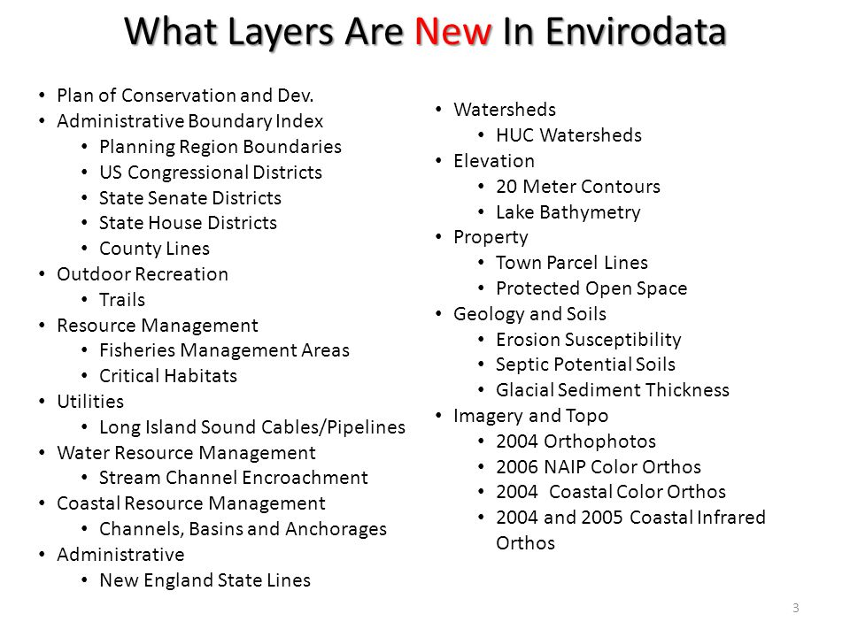 What Layers Are New In Envirodata Plan of Conservation and Dev.