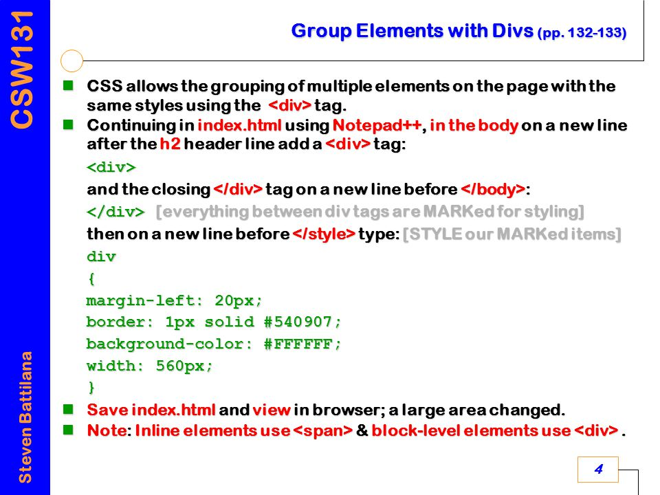 CSW131 Steven Battilana 4 Group Elements with Divs (pp.