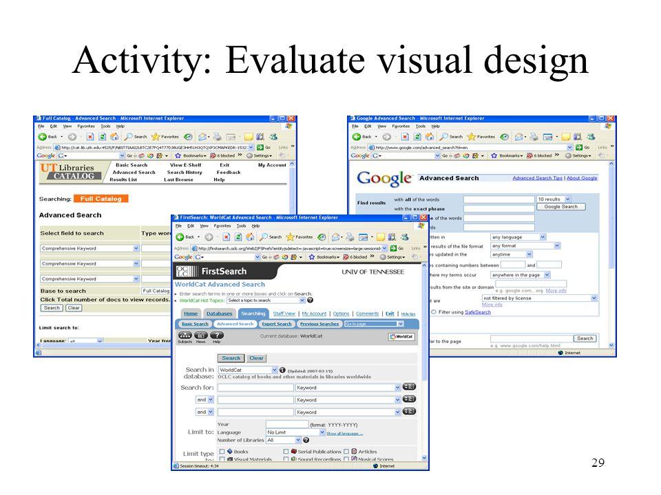 29 Activity: Evaluate visual design