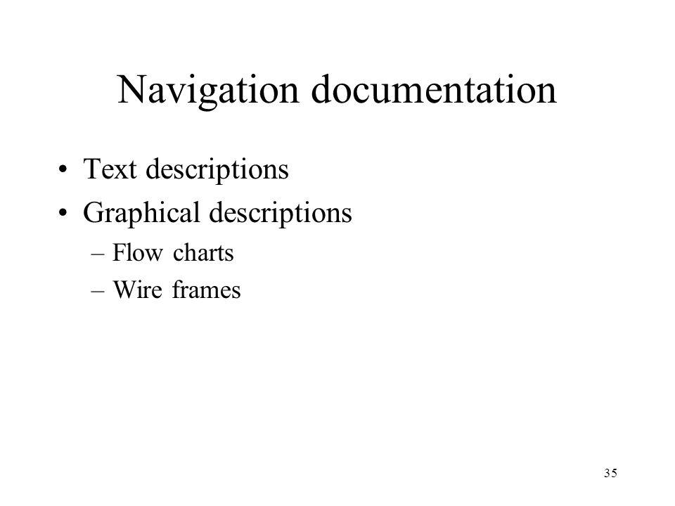 35 Navigation documentation Text descriptions Graphical descriptions –Flow charts –Wire frames