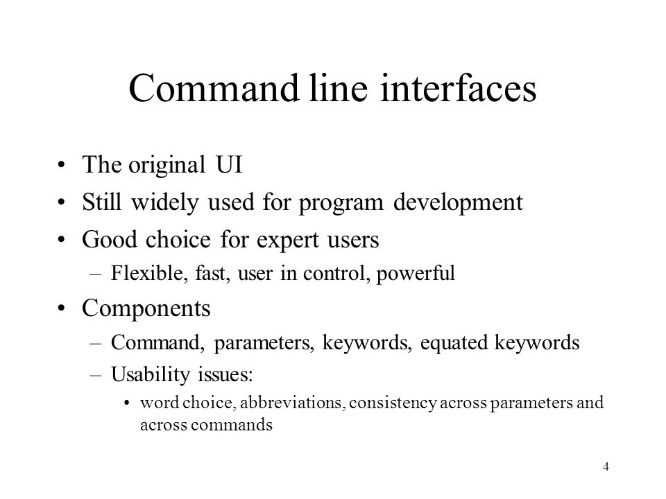 5 Menu-based interfaces The original infrequent/inexperienced user interface Components –Lists of options (text or graphic), selection mechanism, navigation, information architecture Usability affected by –Allows explanation –Depends on recognition rather than recall –Simplicity, structure