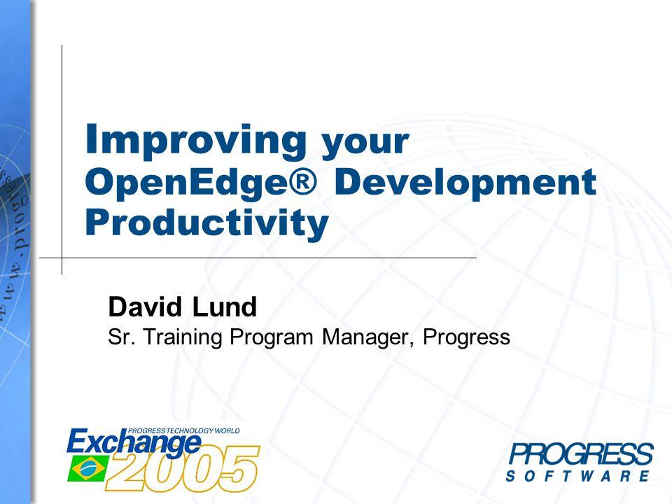 Improving your OpenEdge® Development Productivity David Lund Sr. Training Program Manager, Progress