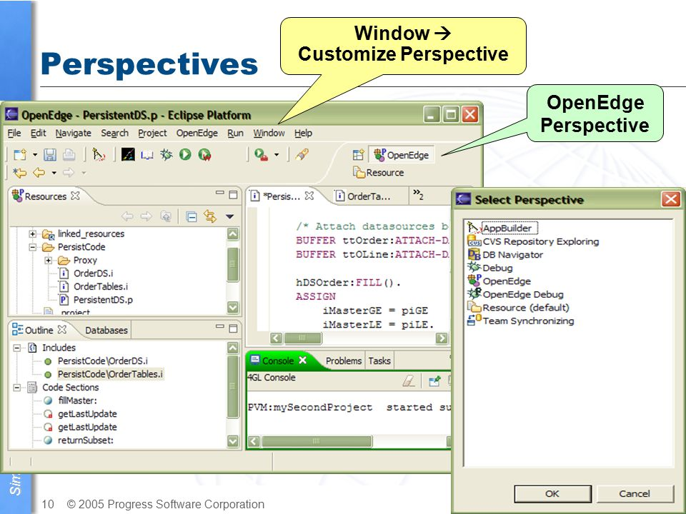 Simplify your business © 2005 Progress Software Corporation10 OpenEdge Architect Perspectives OpenEdge Perspective Window  Customize Perspective