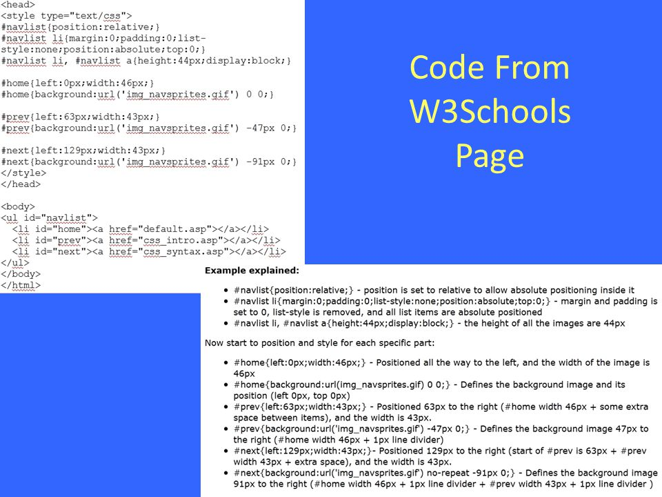 Code From W3Schools Page