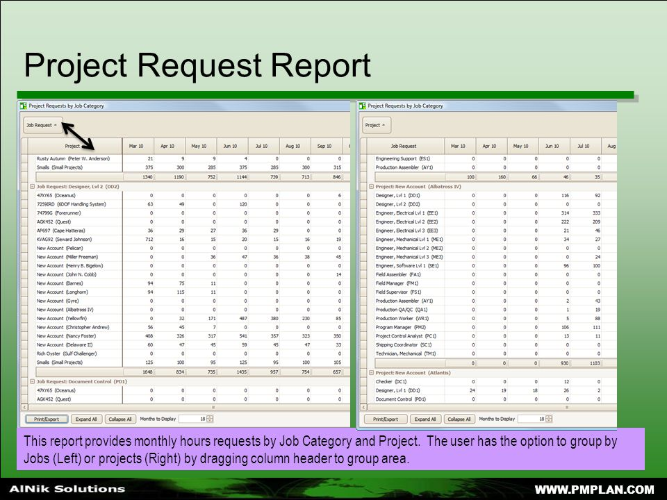Project Request Report This report provides monthly hours requests by Job Category and Project.