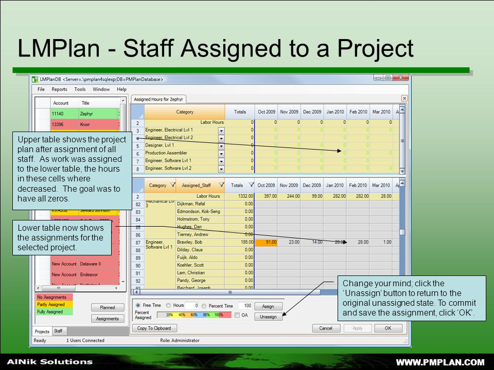 LMPlan - Staff Assigned to a Project Lower table now shows the assignments for the selected project.