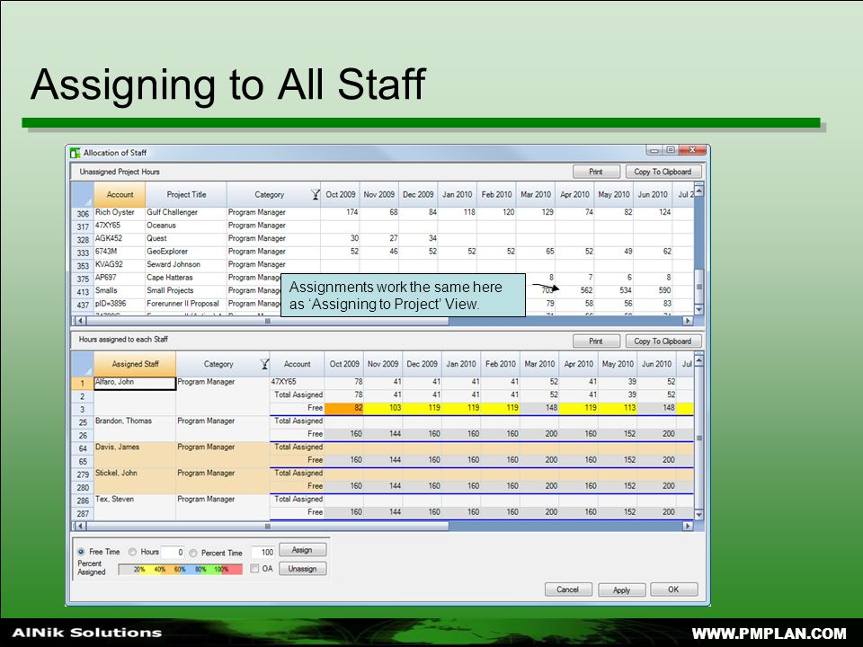 Assigning to All Staff Assignments work the same here as 'Assigning to Project' View.