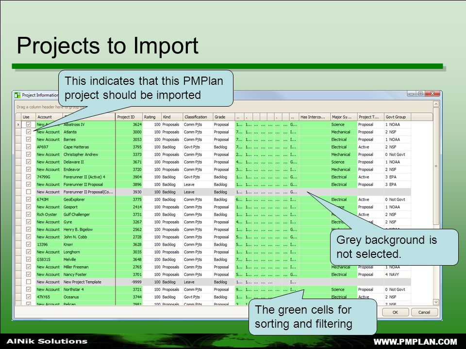 WWW.PMPLAN.COM Projects to Import This indicates that this PMPlan project should be imported The green cells for sorting and filtering Grey background is not selected.