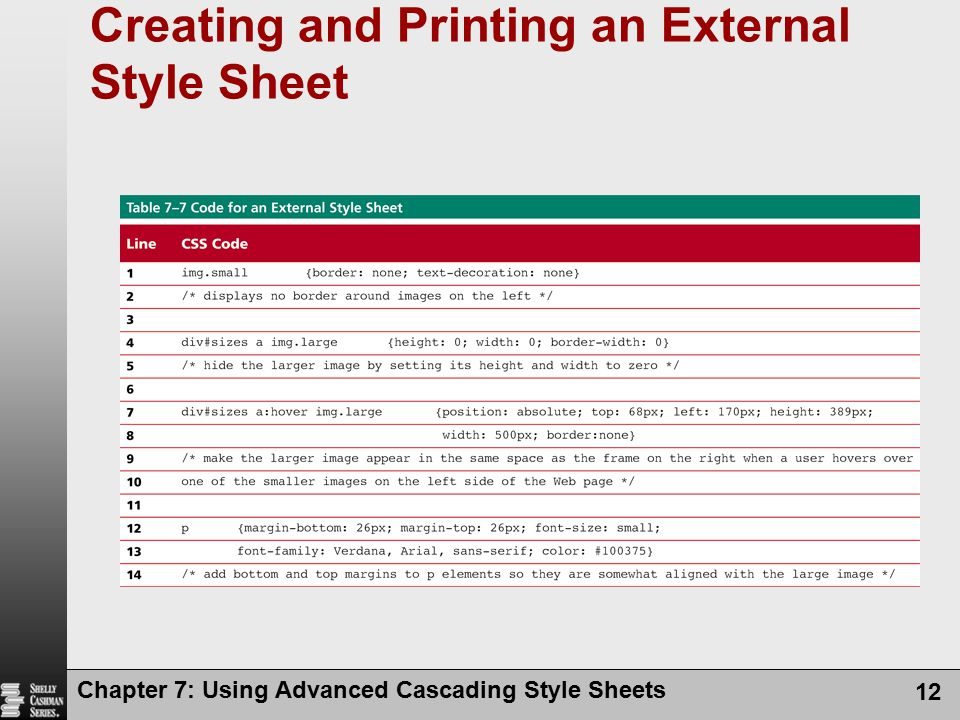 Creating and Printing an External Style Sheet Chapter 7: Using Advanced Cascading Style Sheets 12