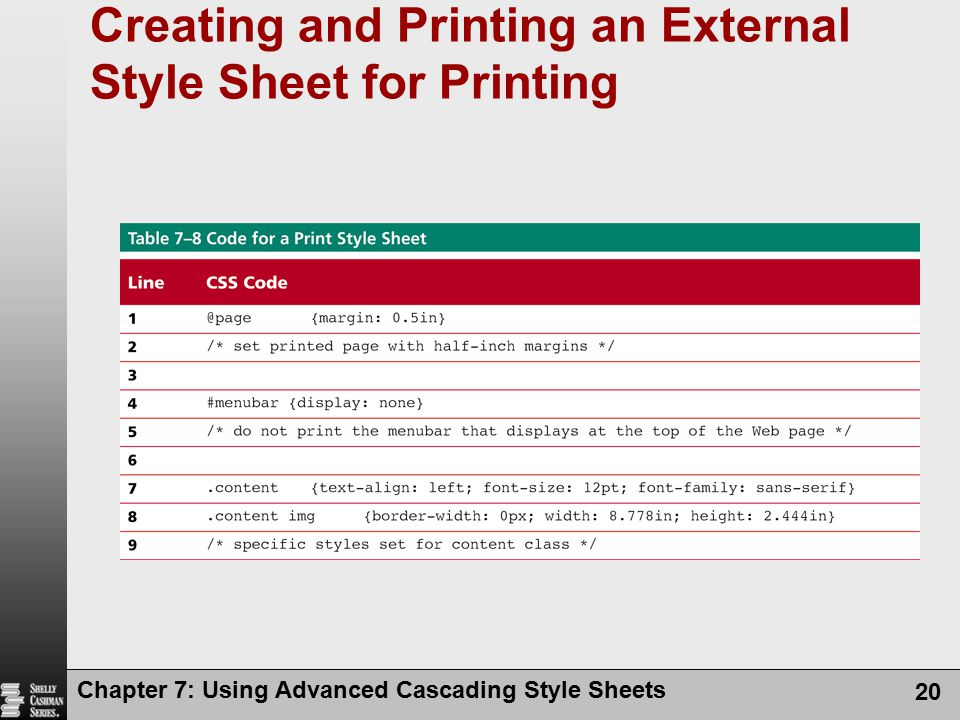 Creating and Printing an External Style Sheet for Printing Chapter 7: Using Advanced Cascading Style Sheets 20