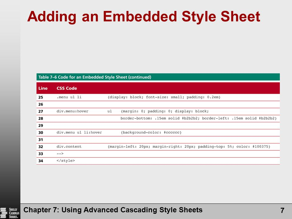 8 Adding an Embedded Style Sheet