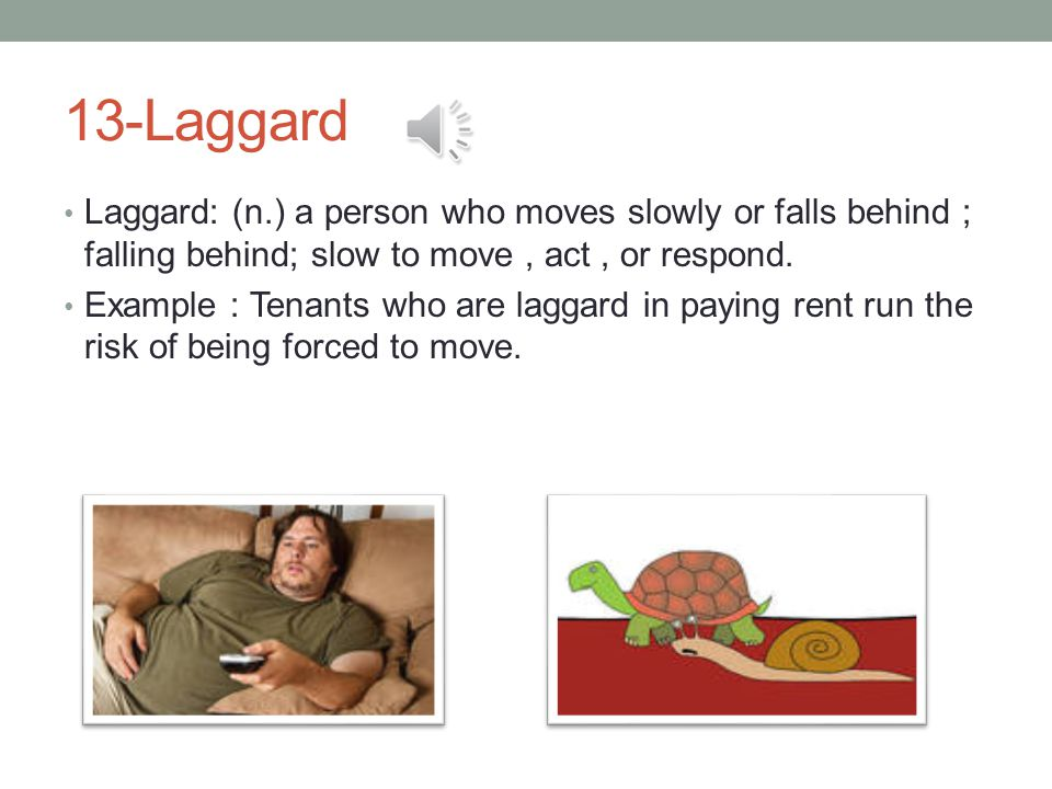 13-Laggard Laggard: (n.) a person who moves slowly or falls behind ; falling behind; slow to move, act, or respond.