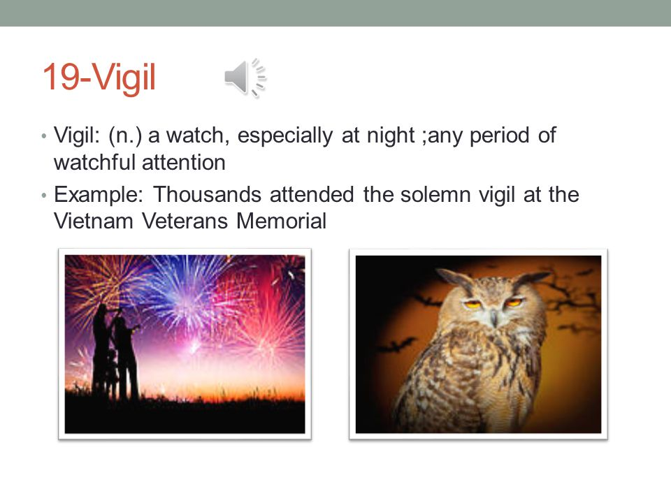19-Vigil Vigil: (n.) a watch, especially at night ;any period of watchful attention Example: Thousands attended the solemn vigil at the Vietnam Veterans Memorial