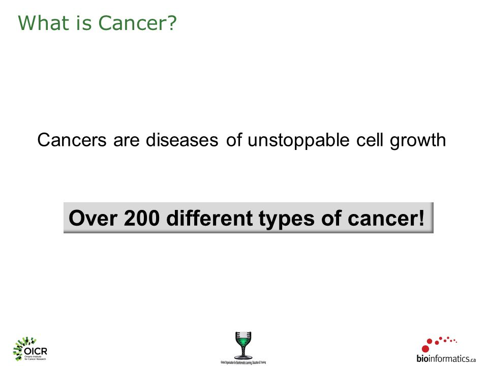 What is Cancer Cancers are diseases of unstoppable cell growth Over 200 different types of cancer!