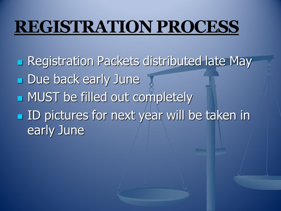 REGISTRATION PROCESS Registration Packets distributed late May Registration Packets distributed late May Due back early June Due back early June MUST be filled out completely MUST be filled out completely ID pictures for next year will be taken in early June ID pictures for next year will be taken in early June
