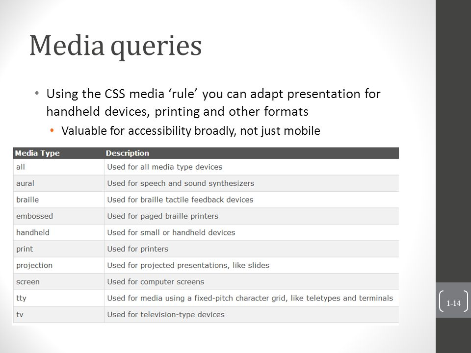 Media queries Using the CSS media 'rule' you can adapt presentation for handheld devices, printing and other formats Valuable for accessibility broadly, not just mobile 1-14