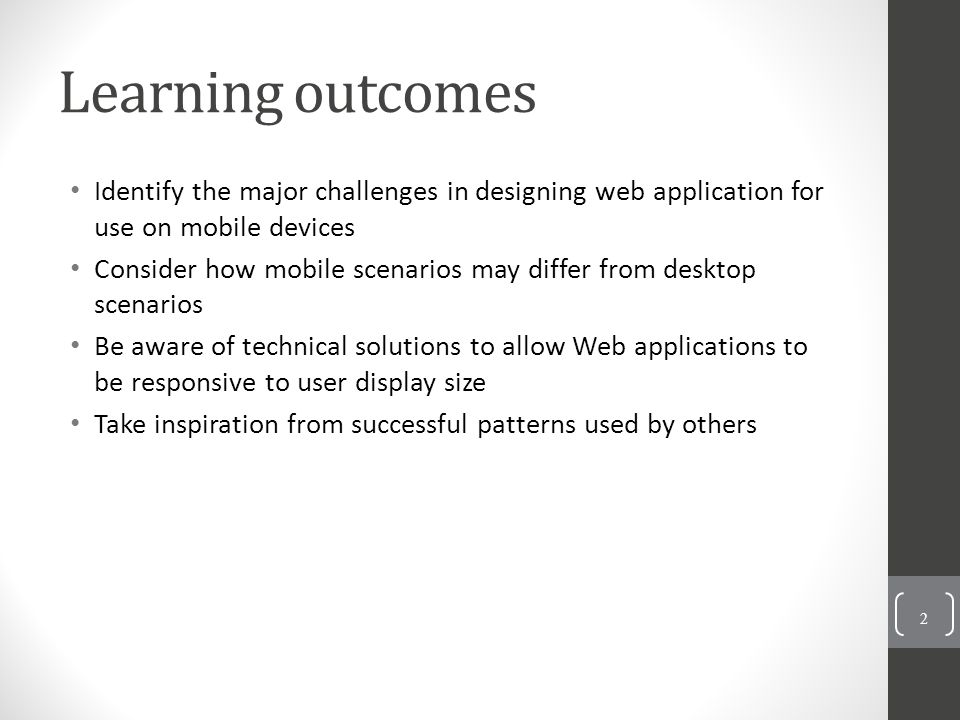 Avoid pitfalls Doing nothing Your desktop-styled site will probably be annoying, and possibly unusable, for your mobile users Ignoring performance Avoid large downloads Relying on help All UIs should be intuitive, but even stronger case with mobile as user is likely to be intermittent (and thus training will be less of a good investment) Misapplying creativity Novel or idiosyncratic interaction will make it more likely user needs help to figure out – users will understand applications that look and behave like what they're used to Ignoring browser interactions Best if you site provides all the navigation needed without users having to go to the browser's layer of controls 1-23