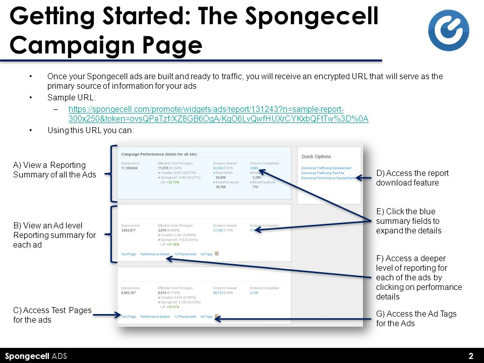 Spongecell ADS 2 Getting Started: The Spongecell Campaign Page Once your Spongecell ads are built and ready to traffic, you will receive an encrypted