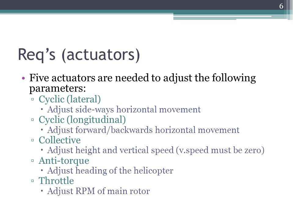 Req's (actuators) Five actuators are needed to adjust the following parameters: ▫Cyclic (lateral)  Adjust side-ways horizontal movement ▫Cyclic (long