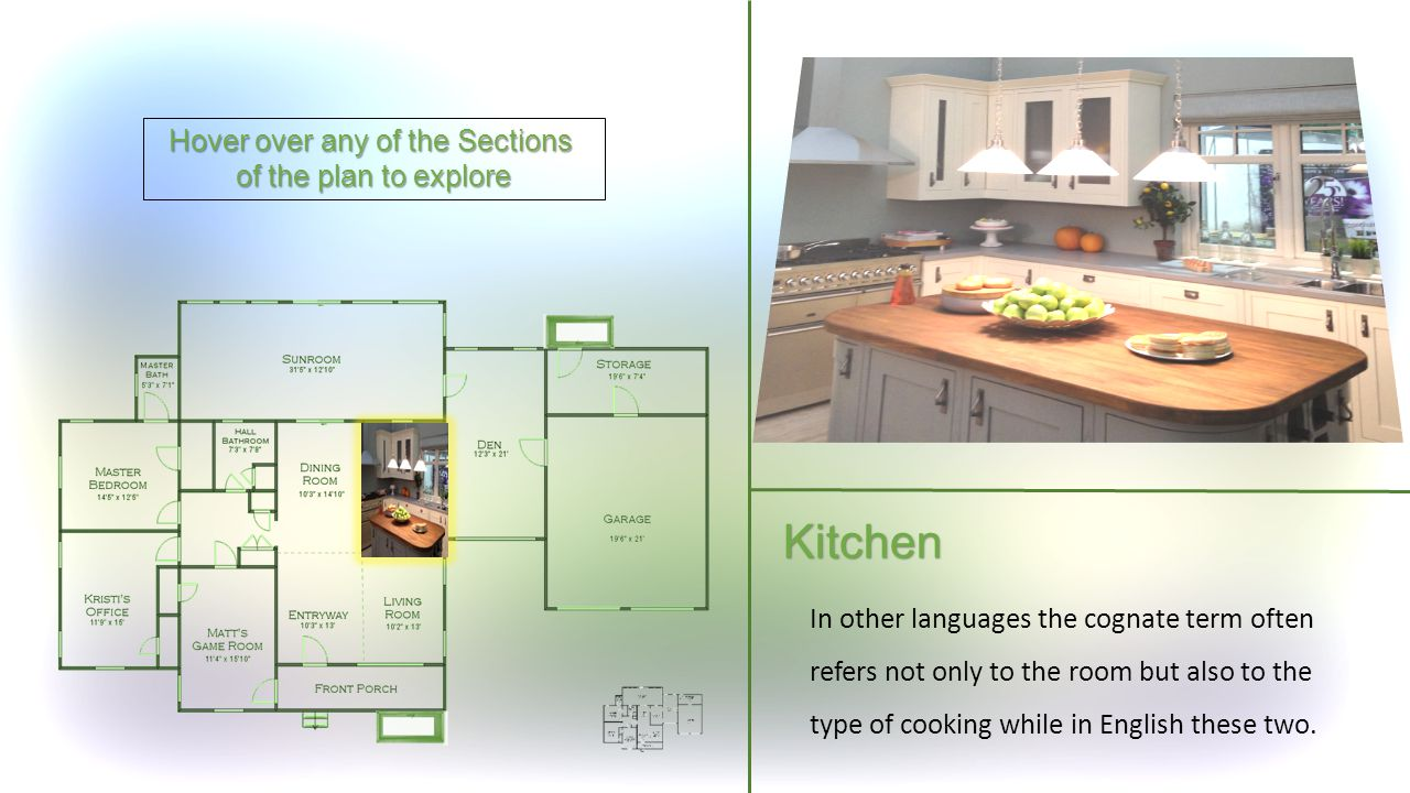 Hover over any of the Sections of the plan to explore Kitchen In other languages the cognate term often refers not only to the room but also to the type of cooking while in English these two.