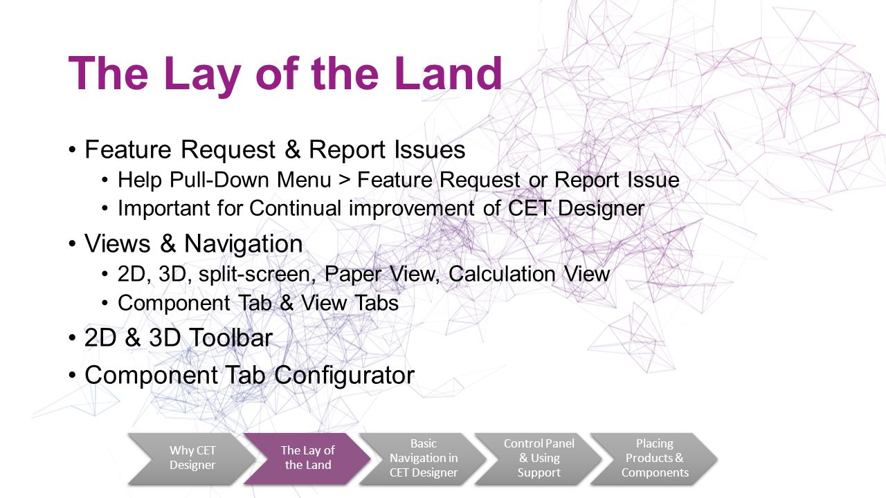 The Lay of the Land Feature Request & Report Issues Help Pull-Down Menu > Feature Request or Report Issue Important for Continual improvement of CET Designer Views & Navigation 2D, 3D, split-screen, Paper View, Calculation View Component Tab & View Tabs 2D & 3D Toolbar Component Tab Configurator Why CET Designer The Lay of the Land Basic Navigation in CET Designer Control Panel & Using Support Placing Products & Components