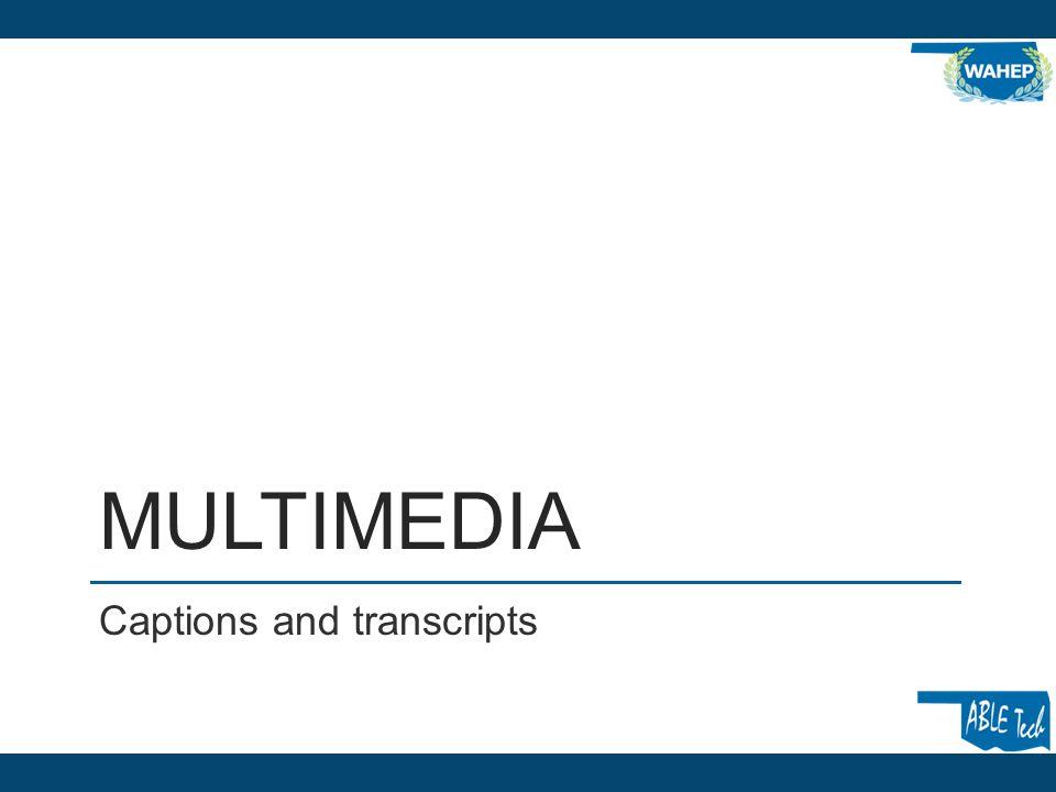 MULTIMEDIA Captions and transcripts