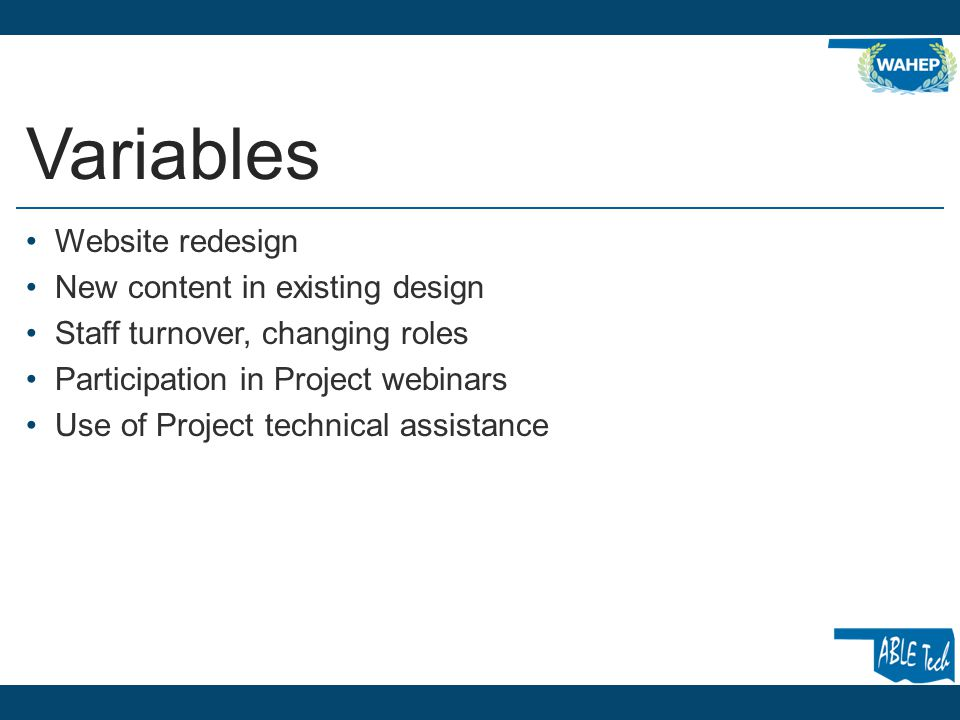 Variables Website redesign New content in existing design Staff turnover, changing roles Participation in Project webinars Use of Project technical assistance