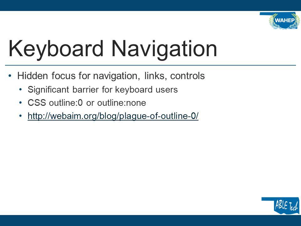 More Keyboard Navigation Navigation menus Accordion menu, flyout menu, rollover menu Tab order.