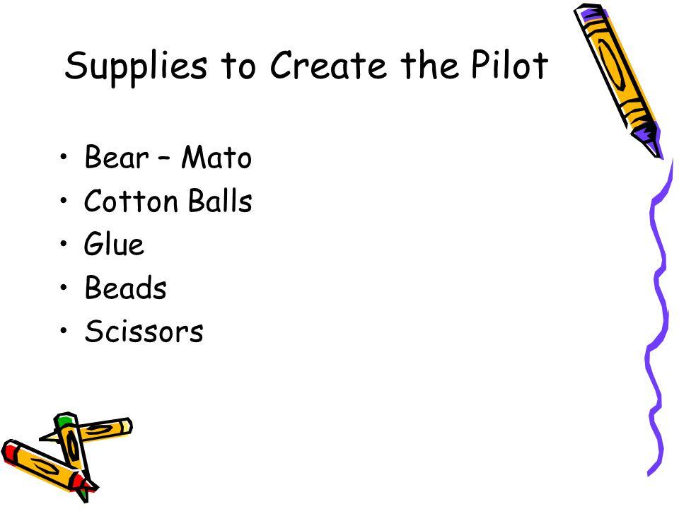 Supplies to Create the Pilot Bear – Mato Cotton Balls Glue Beads Scissors