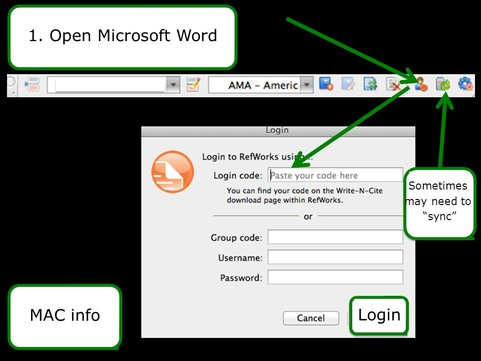 "1. Open Microsoft WordMAC info Login Sometimes may need to ""sync"""