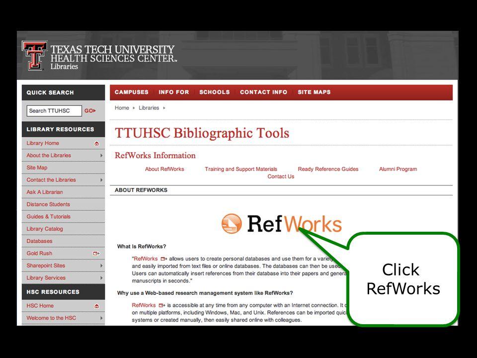 1.Open Microsoft Word, Open new RefWorks' tab PC info 2. Login then enter code