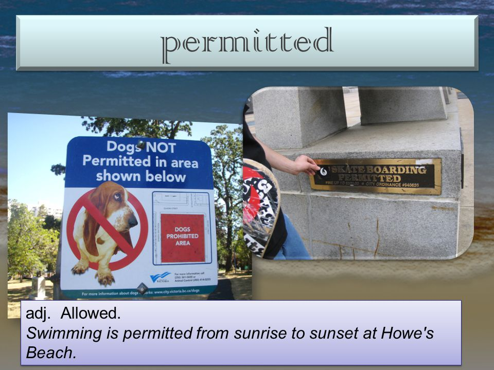 permitted adj. Allowed. Swimming is permitted from sunrise to sunset at Howe s Beach.