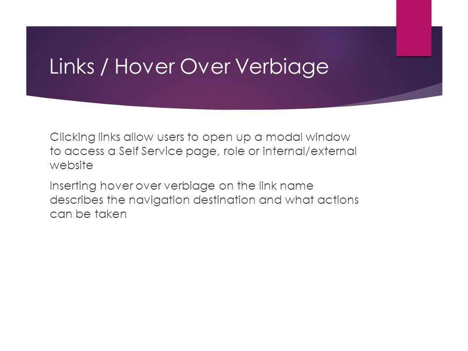 Links / Hover Over Verbiage