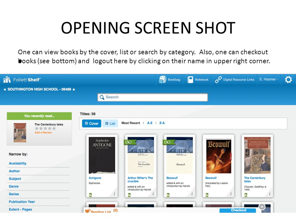 OPENING SCREEN SHOT One can view books by the cover, list or search by category. Also, one can checkout books (see bottom) and logout here by clicking