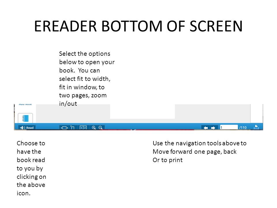 EREADER BOTTOM OF SCREEN Choose to have the book read to you by clicking on the above icon. Select the options below to open your book. You can select