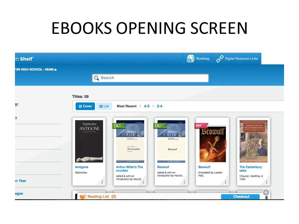 EBOOKS OPENING SCREEN