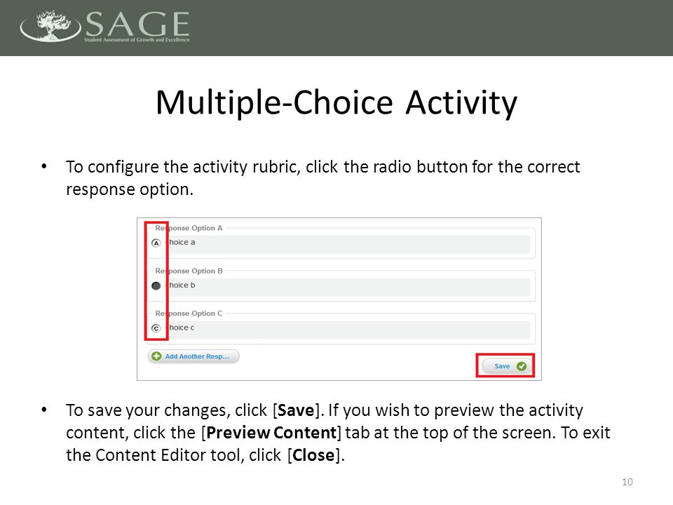 10 To configure the activity rubric, click the radio button for the correct response option.