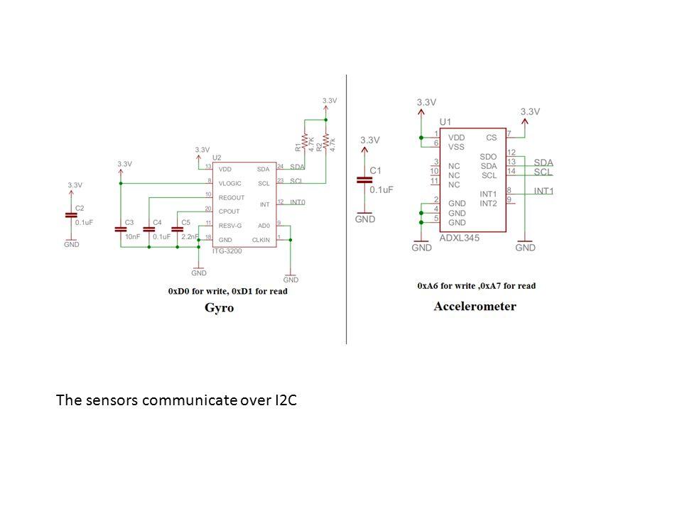 The sensors communicate over I2C