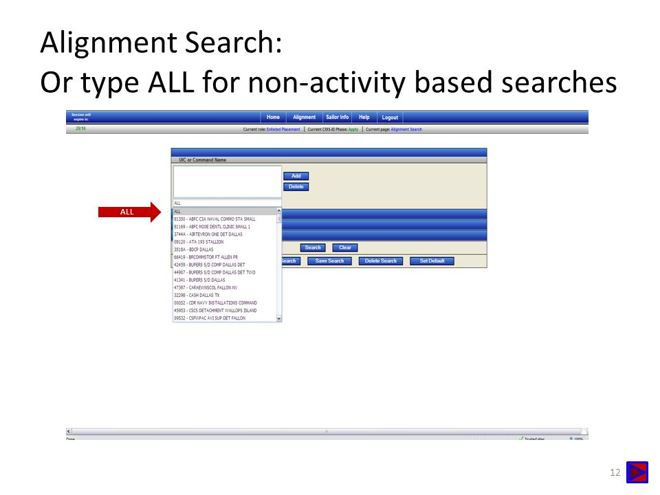 Alignment Search: Or type ALL for non-activity based searches ALL 12