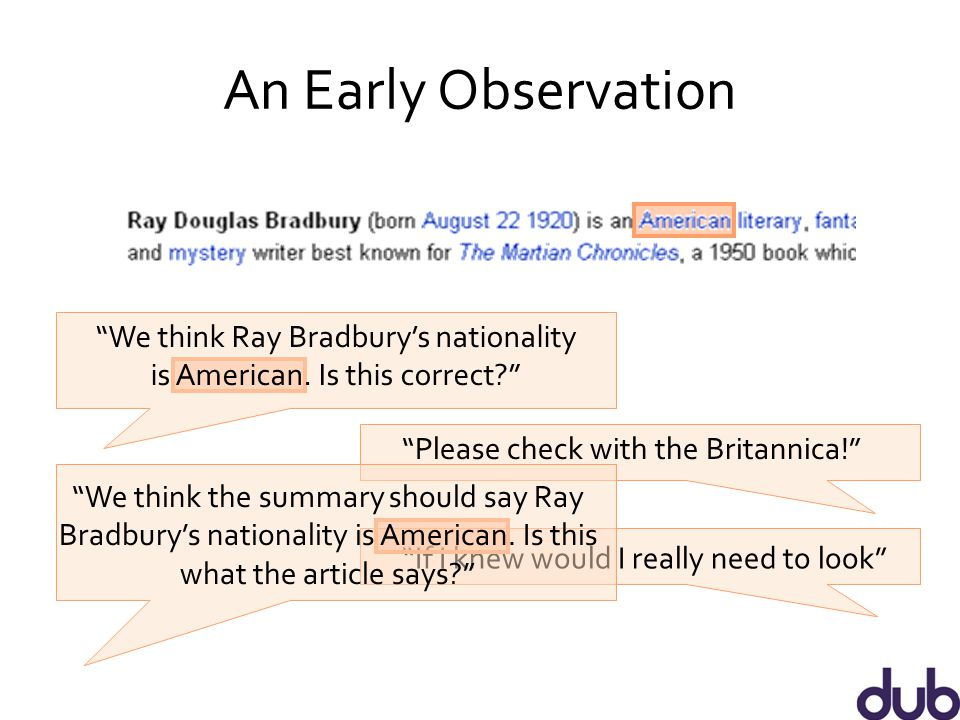 An Early Observation We think Ray Bradbury's nationality is American.