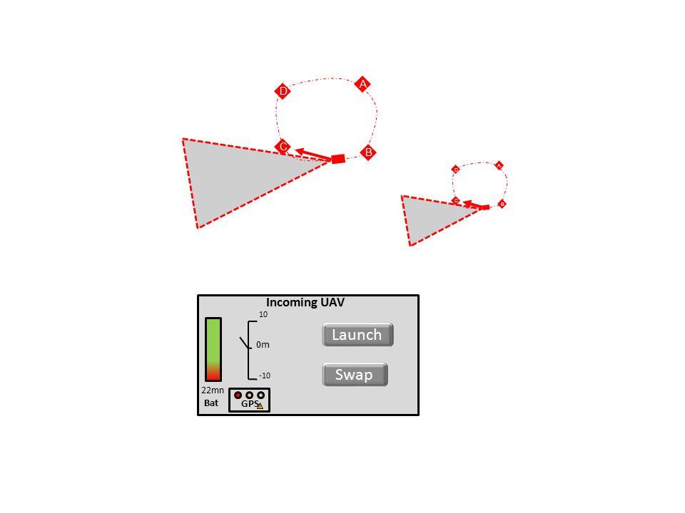 Bat Incoming UAV 22mn Launch 0m 10 -10 GPS ! Swap D A B C D A B C
