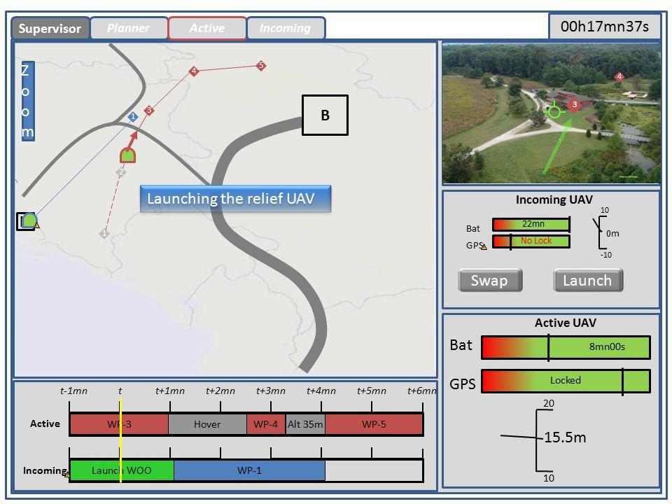 PlannerActiveIncoming Primary Screen Secondary Screen B H ZoomZoom B Bat 5mn30s GPS Locked Supervisor Bat GPS 35m 50 30 Incoming UAV 19mn30 4 5 SwapLaunch No Lock .