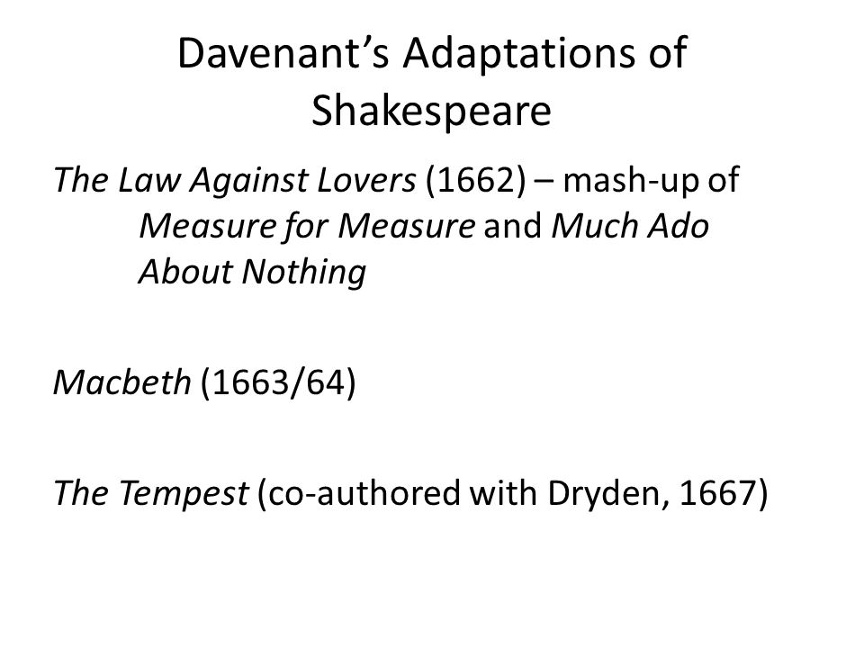 Singing, Dancing, and Divertisement in Davenant's Macbeth Come hover through the foggy filthy air – Exeunt Flying (Act I, Scene i) Lady Macbeth: What quite unmann'd in Folly [the Ghost descends ------- Lords: Our Duties are to Pledge it [the Ghost of Banq.