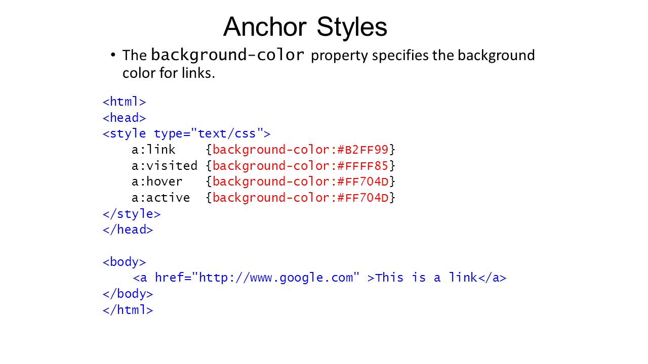 Anchor Styles The background-color property specifies the background color for links.