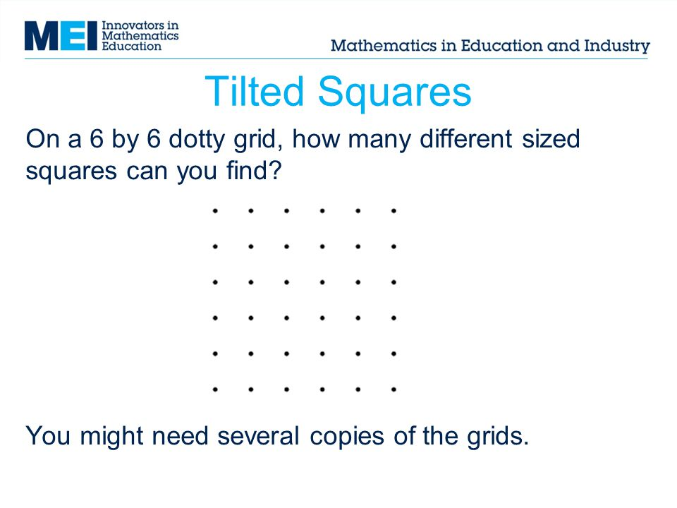 Tilted Squares This resource This resource from nrich may help you to find them.