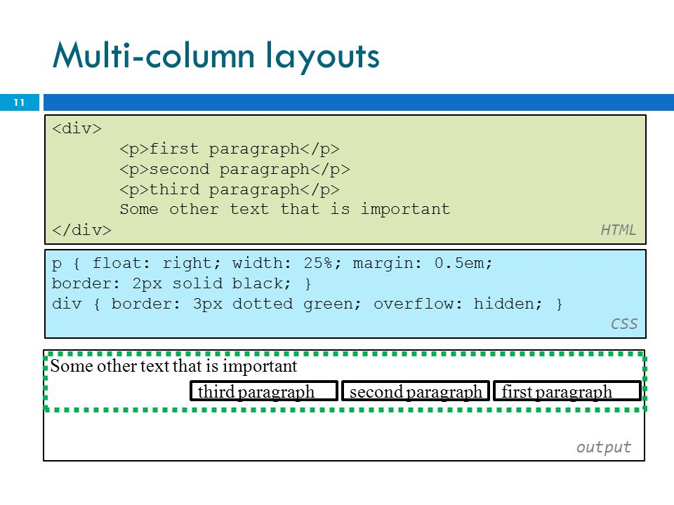 Multi-column layouts 11 first paragraph second paragraph third paragraph Some other text that is important HTML Some other text that is important outp