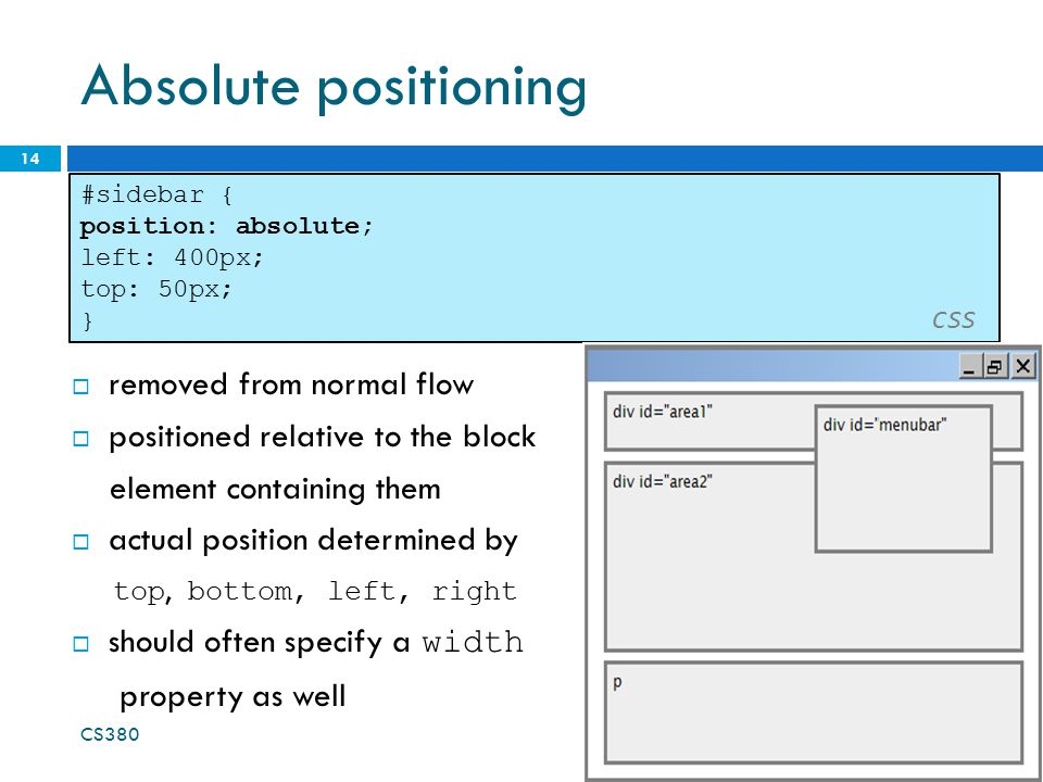 Absolute positioning 14 #sidebar { position: absolute; left: 400px; top: 50px; } CSS  removed from normal flow  positioned relative to the block ele