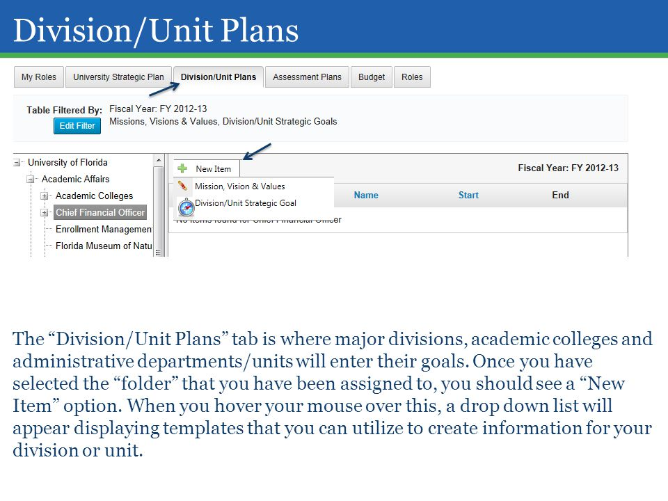 "The ""Division/Unit Plans"" tab is where major divisions, academic colleges and administrative departments/units will enter their goals. Once you have s"