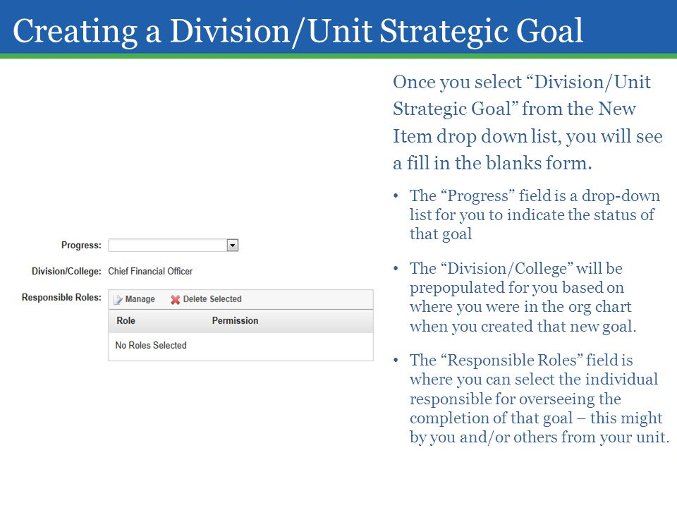 "Creating a Division/Unit Strategic Goal Once you select ""Division/Unit Strategic Goal"" from the New Item drop down list, you will see a fill in the bl"